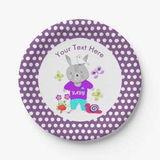 Cute Toy Baby Bunny Rabbit Paper Plate