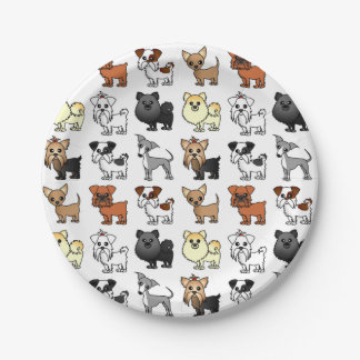 Cute Toy Dog Breed Pattern 7 Inch Paper Plate