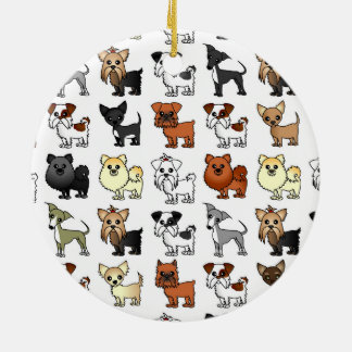 Cute Toy Dog Breed Pattern Ceramic Ornament