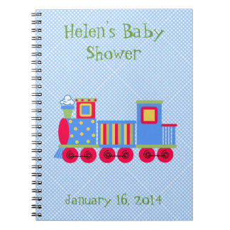 Cute Toy Train Baby Shower Custom Notebook