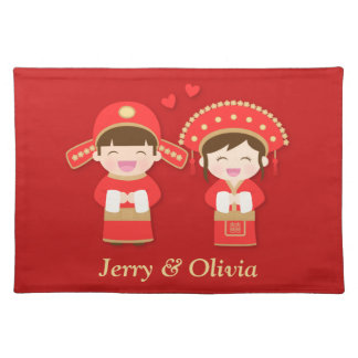 Cute Traditional Chinese Couple Wedding Decor Placemat