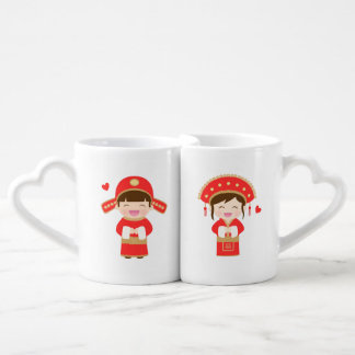 Cute Traditional Chinese Wedding Couple Mugs
