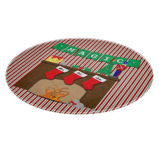 Cute Traditional Christmas Scene • 3 Stockings Cutting Board