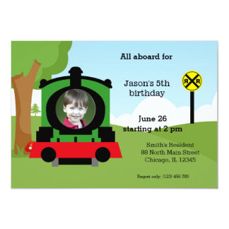 "Cute train birthday 5"" x 7"" invitation card"