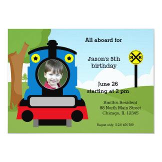"Cute train birthday 5"" x 7"" invitation card"