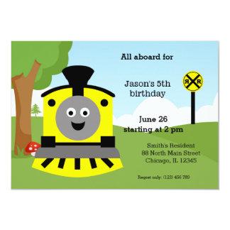 Cute train birthday 5x7 paper invitation card