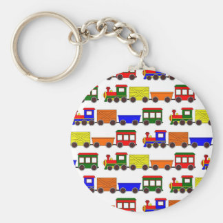 Cute Train Print Basic Round Button Keychain