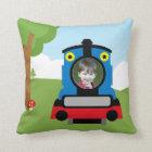 Cute train throw pillow
