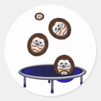 cute trampolining hedgehogs classic round sticker