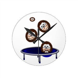 cute trampolining hedgehogs round clock