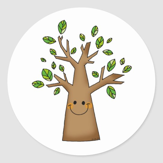cute tree classic round sticker