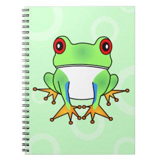 Cute Tree Frog Cartoon - Light Green Circles Notebook