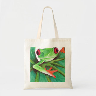 cute tree frog tote budget tote bag