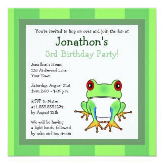 Cute Tree Frog w/ Stripes Birthday Invite