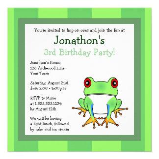 Cute Tree Frog w Stripes Birthday Invite