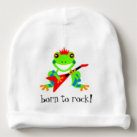 Cute Tree Frogs Rockin' Red Guitars Baby Beanie