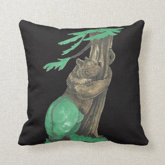 Cute Tree Hugger Bear Wildlife Designed Throw Pillow