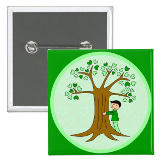 Cute Tree Hugger Design 2 Inch Square Button