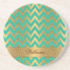 Cute trendy chevron zigzag faux gold glitter coaster