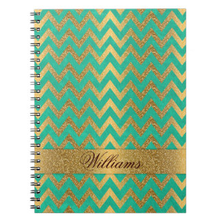 Cute trendy chevron zigzag faux gold glitter spiral notebook