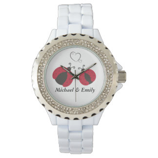 Cute trendy chic couple ladybugs in love personal watch