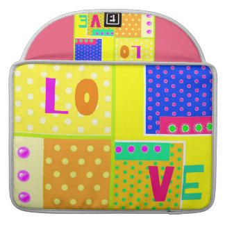 Cute trendy color polka dots love design sleeve for MacBooks