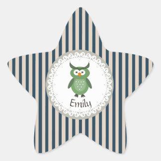 Cute Trendy fancy girly  owl personalized Star Sticker