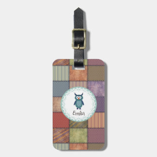 Cute Trendy fancy girly patchwork owl personalized Luggage Tag