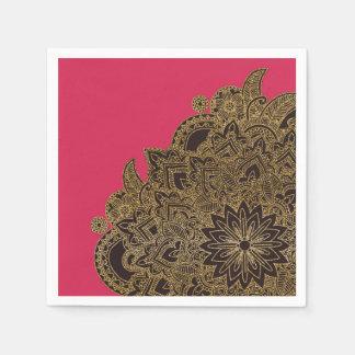 Cute trendy faux gold glitter flower henna disposable napkin