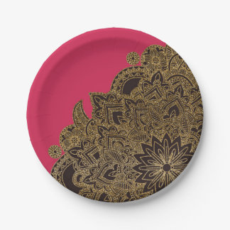 Cute trendy faux gold glitter flower henna 7 inch paper plate