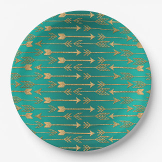 Cute trendy faux gold glitter tribal arrows paper plate