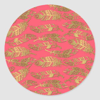 Cute trendy faux gold glitter tribal feathers round sticker
