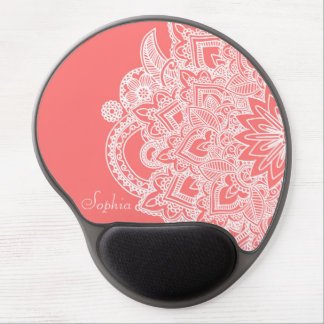 Cute trendy flower henna hand drawn design gel mouse pad