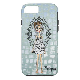 Cute Trendy Girl with Glasses Journal/ iPhone 8/7 Case