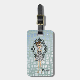 Cute Trendy Girl with Glasses Luggage Tag