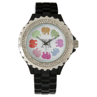 Cute trendy girly colorful elephants monogram watch