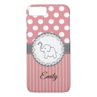 Cute Trendy  girly  fun elephant personalized iPhone 8/7 Case