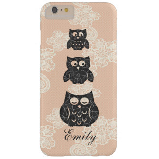 Cute trendy girly lace owl personalized barely there iPhone 6 plus case