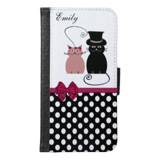 Cute trendy girly ladybug polka dots monogram samsung galaxy s6 wallet case