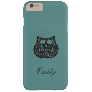 Cute trendy girly mint owl personalized barely there iPhone 6 plus case