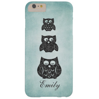 Cute trendy girly owl personalized barely there iPhone 6 plus case