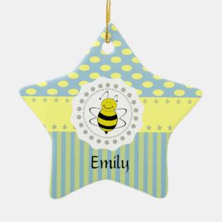 Cute trendy girly pattern bee ceramic star ornament