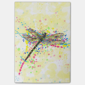 Cute trendy girly watercolor splatters dragonfly post-it® notes