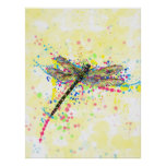 Cute trendy girly watercolor splatters dragonfly poster