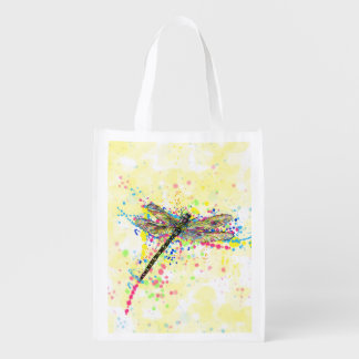 Cute trendy girly watercolor splatters dragonfly reusable grocery bags