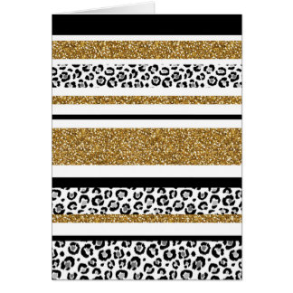 Cute trendy  gold faux glitter leopard stripes card
