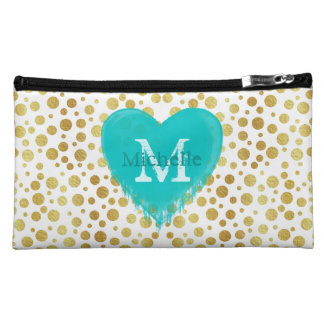 Cute trendy golden doted pattern with monogram cosmetic bag