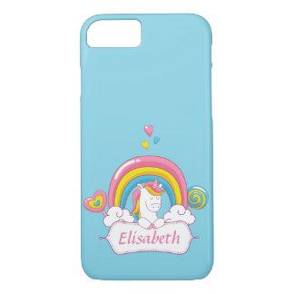 Cute Trendy  Magical Unicorn Custom name blue iPhone 8/7 Case