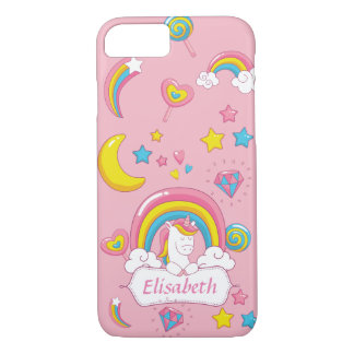 Cute Trendy  Magical Unicorn Custom name pink iPhone 8/7 Case