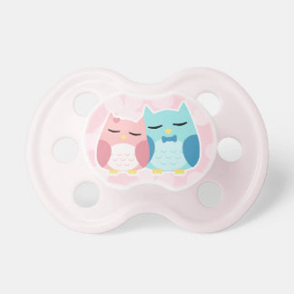 Cute trendy owl couple pacifier